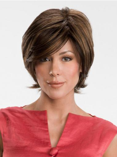 Brown Cheapest Lace Front Synthetic Medium Wigs