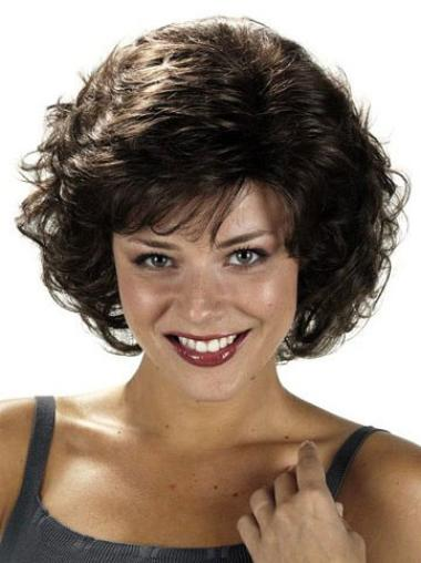 Sleek Black Curly Chin Length Classic Wigs