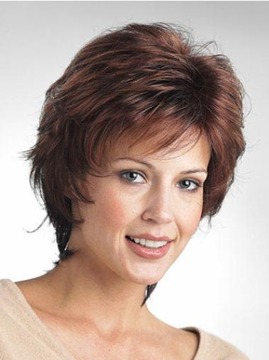 Mature Brown Wavy Short Classic Wigs