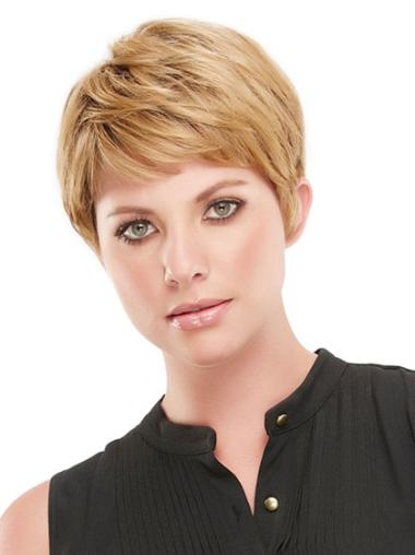 Fashionable Blonde Straight Cropped Synthetic Wigs