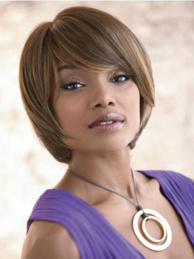 Affordable Brown Straight Chin Length Synthetic Wigs