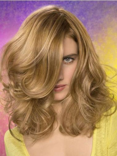 Flexibility Blonde Wavy Shoulder Length Lace Front Wigs