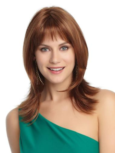 Durable Auburn Straight Shoulder Length Petite Wigs