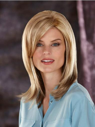 Suitable Blonde Straight Shoulder Length Synthetic Wigs