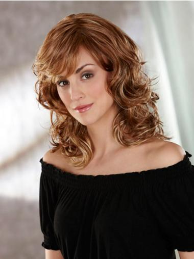 Stylish Brown Wavy Shoulder Length Classic Wigs