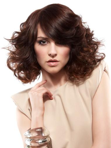Soft Auburn Curly Shoulder Length Wigs