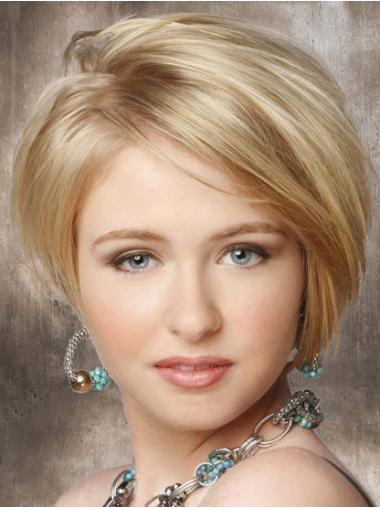 Exquisite Blonde Straight Chin Length Lace Front Wigs For Cancer