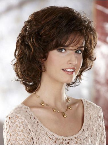Easeful Brown Curly Chin Length Classic Wigs