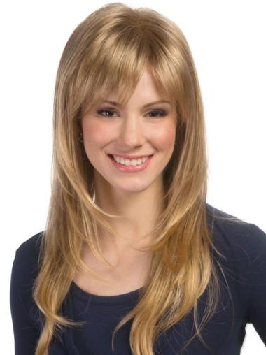Fashionable Blonde Wavy Synthetic Long Wigs