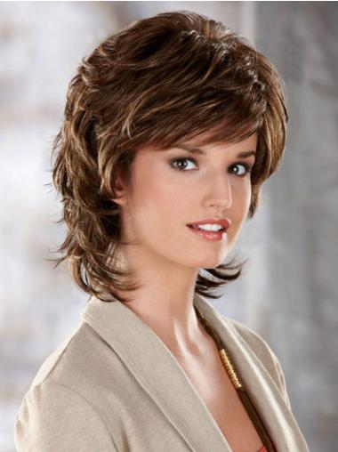Tempting Brown Wavy Chin Length Classic Wigs