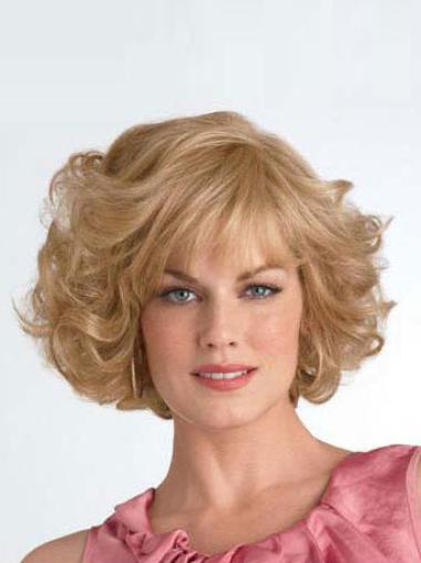 Cool Blonde Curly Chin Length Synthetic Wigs
