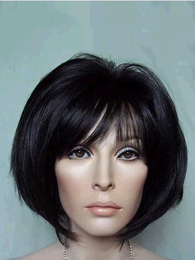 Black Straight Synthetic Tempting Medium Wigs
