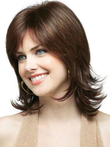 Unique Brown Wavy Shoulder Length Classic Wigs