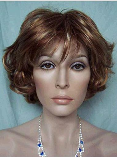 Lace Front Faddish With Bangs Wavy Short Wigs