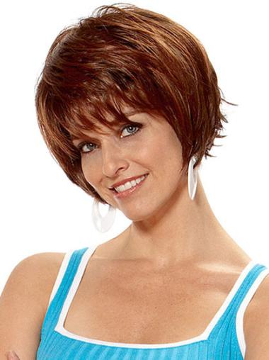 Cosy Auburn Straight Short Synthetic Wigs