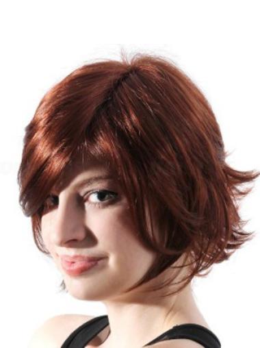 Beautiful Auburn Wavy Chin Length Synthetic Wigs