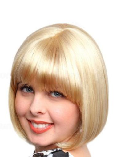 Bobs Suitable Blonde Straight Medium Wigs