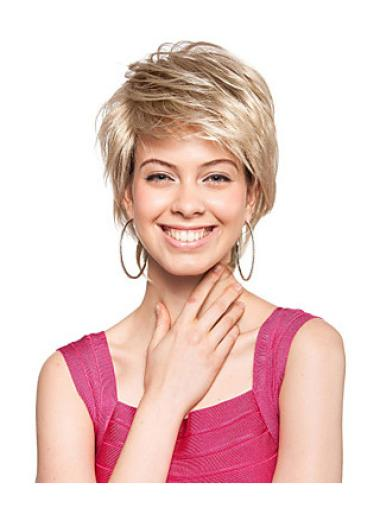 Trendy Blonde Straight Short Synthetic Wigs
