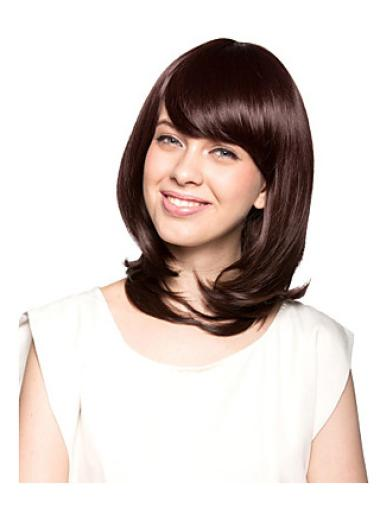 Durable Auburn Wavy Shoulder Length Synthetic Wigs