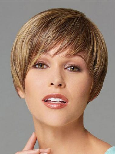 Traditiona Blonde Straight Cropped Synthetic Wigs