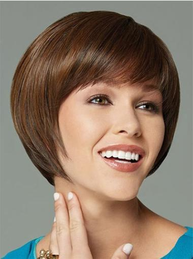 Unique Brown Straight Short Synthetic Wigs