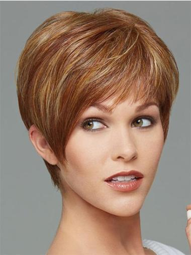 Comfortable Brown Straight Cropped Synthetic Wigs