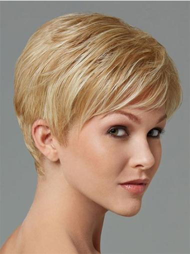 Stylish Blonde Straight Cropped Synthetic Wigs