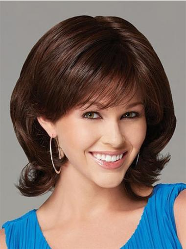 Designed Auburn Wavy Chin Length Synthetic Wigs