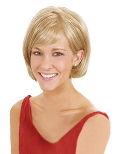 Fashionable Blonde Straight Chin Length Lace Front Wigs