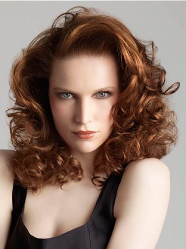 Flexibility Auburn Curly Shoulder Length Wigs For Cancer