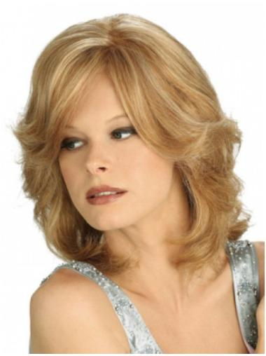 Ideal Blonde Wavy Shoulder Length Wigs For Cancer