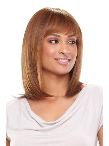 Refined Blonde Monofilament Shoulder Length African American Wigs For Cancer