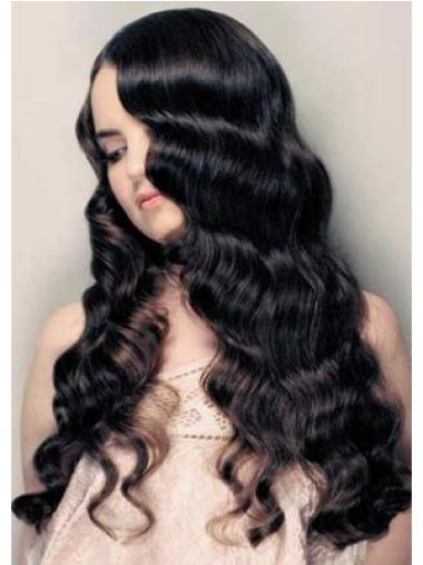 Beautiful Remy Human Hair Black Curly Long Wigs