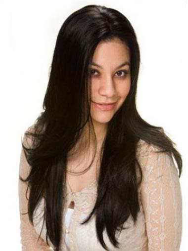 Sassy Black Lace Front Remy Human Hair Long Wigs