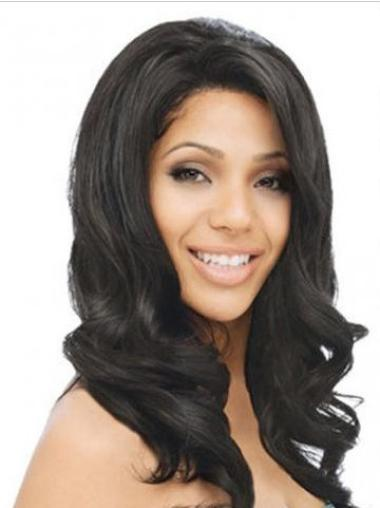 Easeful Black Wavy Indian Remy Hair Long Wigs