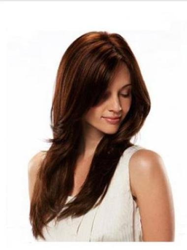 Comfortable Auburn Straight Remy Human Hair Wigs For Cancer