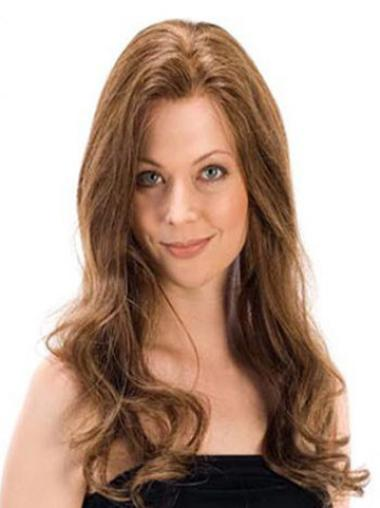 Sleek Remy Human Hair Brown Wavy Long Wigs