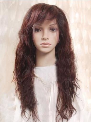 Soft Auburn Wavy Remy Human Hair Long Wigs