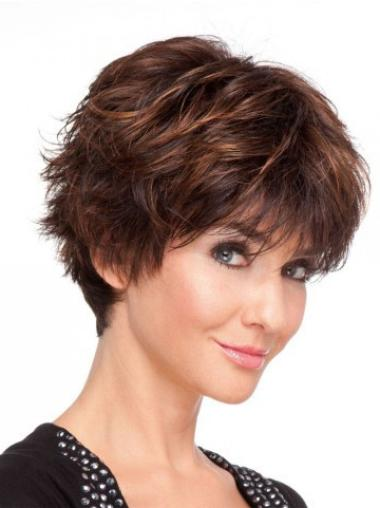 Incredible Auburn Layered Wavy Short Wigs