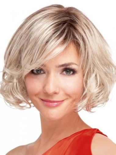 High Quality Blonde Wavy Chin Length Wigs For Cancer