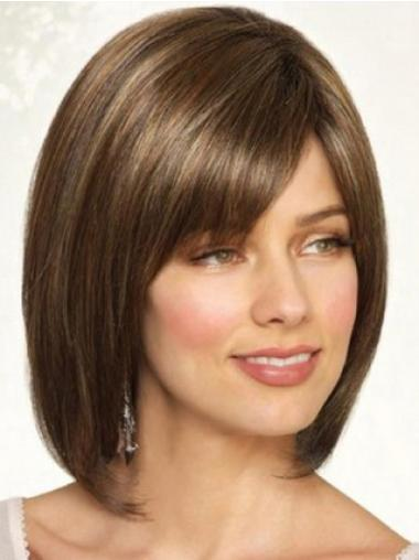 Popular Brown Chin Length Straight Wigs For Cancer