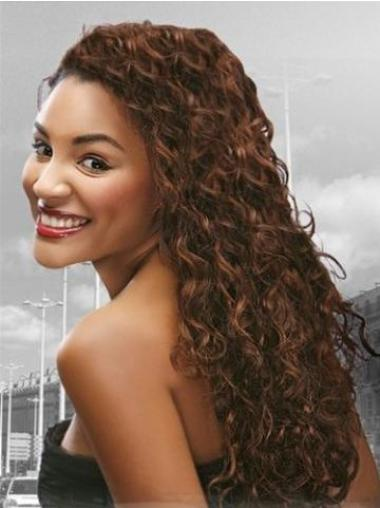 Sleek Auburn Curly Long Human Hair Full Lace Wigs