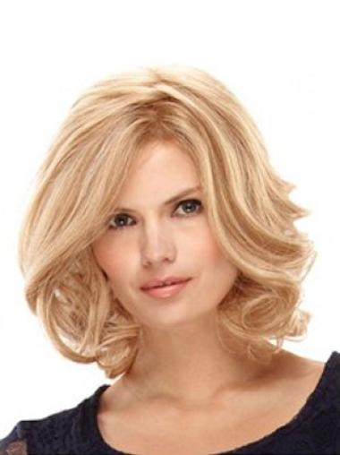 Incredible Blonde Wavy Shoulder Length Wigs For Cancer