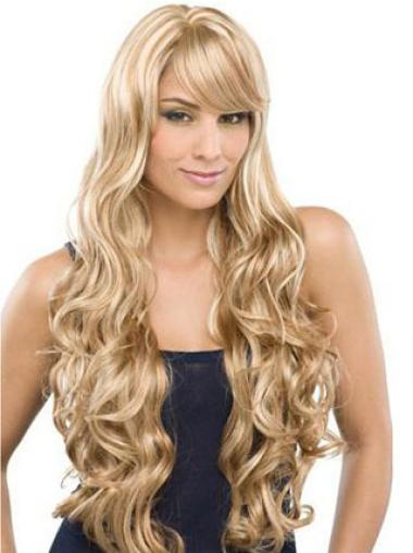 Flexibility Remy Human Hair Blonde Wavy Long Wigs