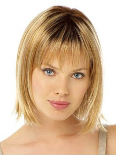 Gorgeous Blonde Straight Chin Length Lace Front Wigs