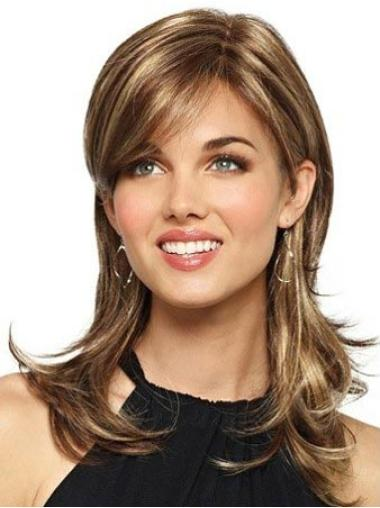 Sleek Brown Wavy Long Synthetic Wigs