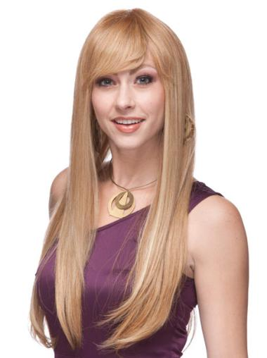 Blonde Monofilament Remy Human Hair Stylish Long Wigs