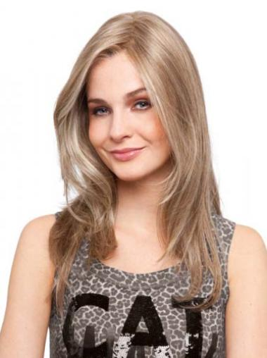 Blonde Monofilament Remy Human Hair Style Long Wigs
