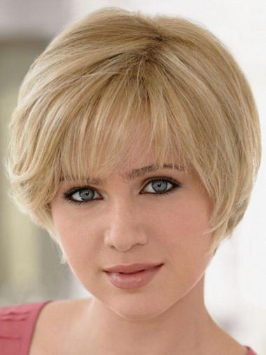 Remy Human Hair Blonde Monofilament Gentle Short Wigs