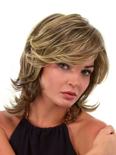 Lace Front Wavy Synthetic Pleasing Medium Wigs